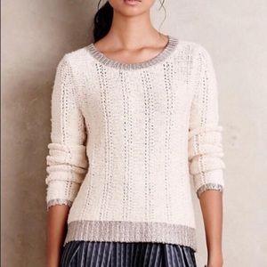 NWT | Moth Crew Neck Cream Silver Sweater